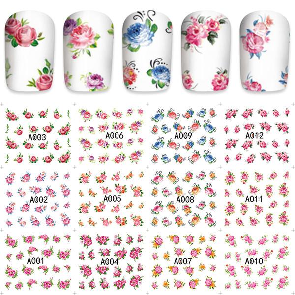 Compre Zko 12 Unids Hoja Marca De Agua Pegatinas De Uñas Mezclado Flor De Dibujos Animados Nail Art Etiqueta Engomada De La Transferencia De Agua