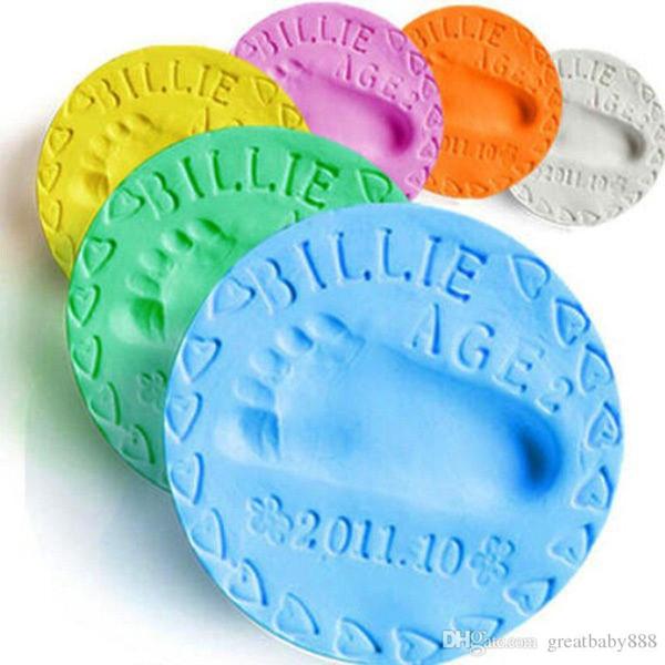 DIY huella de los niños huella de la mano de plastilina arcilla bebé huella de la mano huella de barro infantil de fundición entre padres e hijos mano Inkpad recuerdos 24 colores C3247