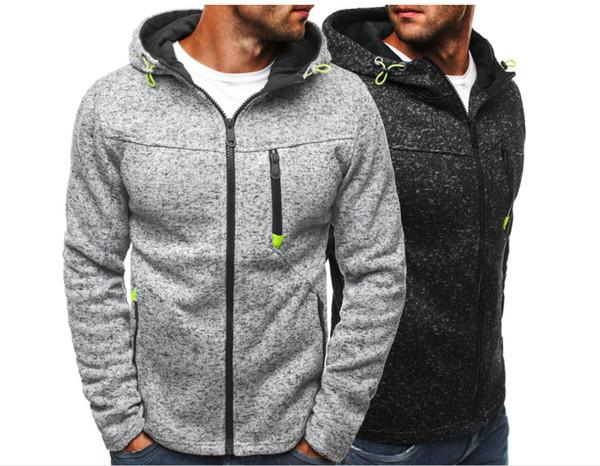 Hoodie Sweatshirt Mens Hoodie Cardigan Baumwollmischung Reißverschluss mit Kapuze Kragen Langarm gebürstet beiläufige lose Herbst Winter Sport Hoodie