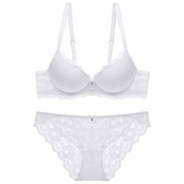 e9165d9e76 fashion lace sexy thin deep V-neck push up bra underwear hot-selling  vintage solid color bra set 2018 3 4 Cup 70