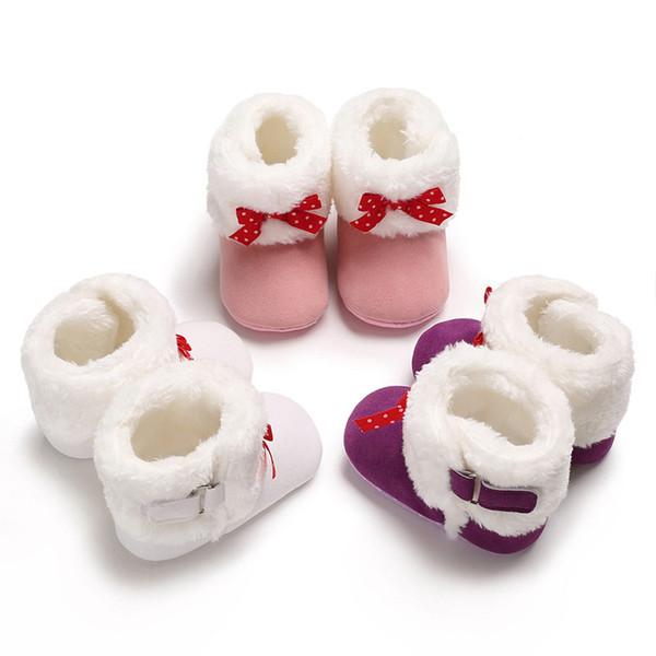 Kış bebek İlk Yürüyüşe ılık ve kar ayakkabıları küçük ilmek Faux kürk kızlar bebek patik Deri çizme