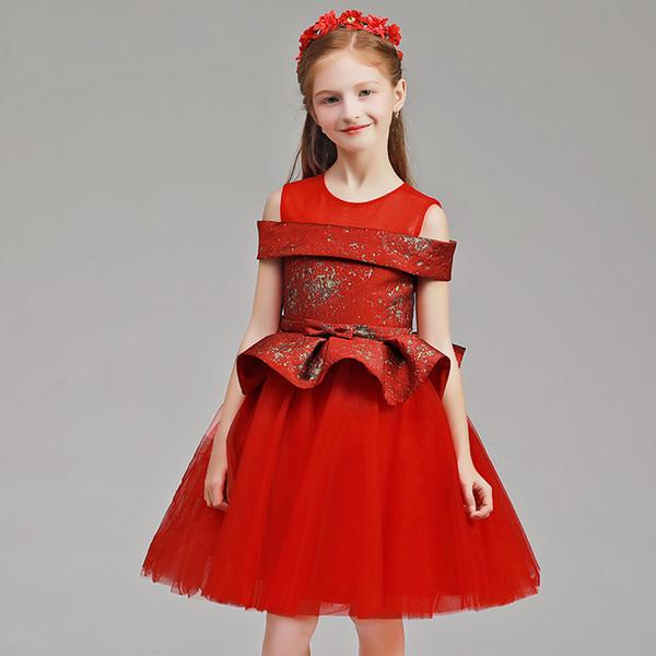 2018 Muhteşem kırmızı Çiçek Kız Elbise kap Kollu Kız Pageant Elbise Çocuklar Akşam elbise Balo parti elbise vestido