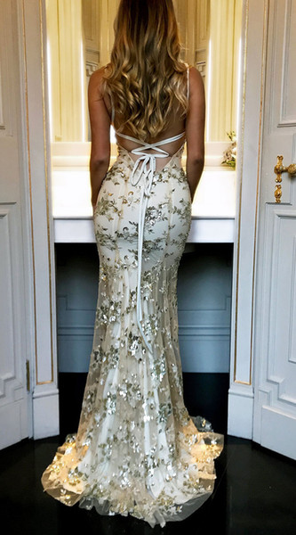 Lady Luxury Seuqined Long Dress per Dinner Party Deep Veck Backless Dress Sexy gonne lunghe senza maniche per le date dei concerti