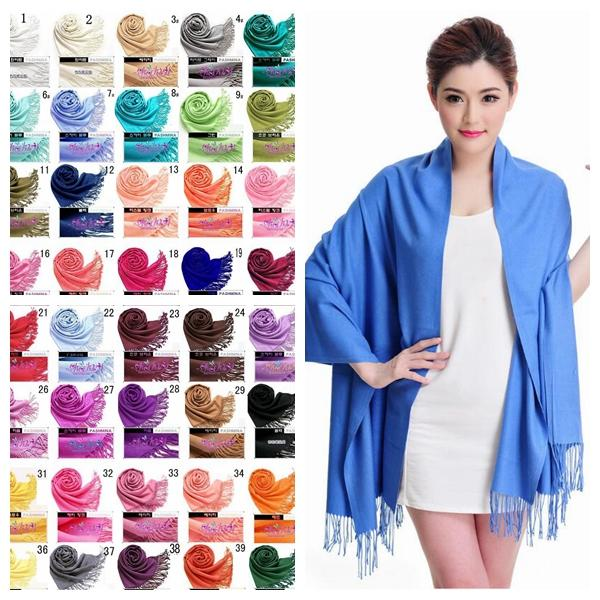 40 Colors Solid Pashmina Cashmere Shawl Wrap Women's Girls Ladies Scarf Soft Fringes Solid Scarf CNY006
