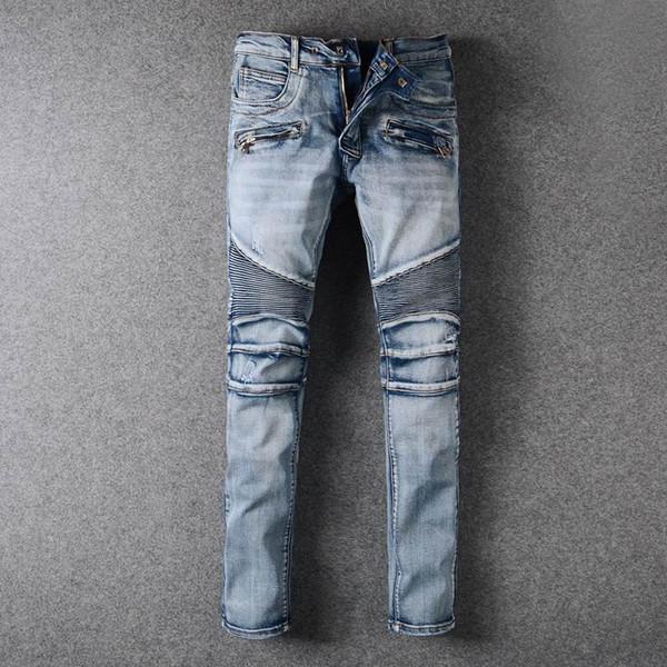 2018 Skinny Slim Fit Washed Coating material Luxury Denim Elastic Motorcycle Mens BM957-958 Jeans Designer SZ28-40 Fashion Men Jeans