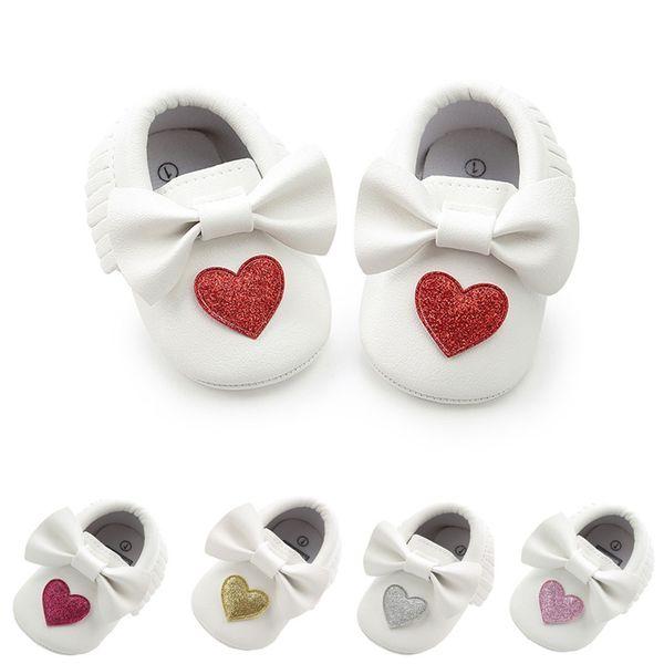 ARLONEETNewborn Infant Baby Girl Bowknot Love Shape Shoes Soft Sole Anti-slip Sneakers