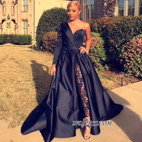 Stylish Black One Shoulder Evening Dresses Satin Pants Suits Sweep Train 2018 Custom Made Plus Size Prom Party Gown Formal Occasion Wear