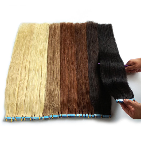 Tape In Human Hair Extensions 100% Remy Unprocessed Can Be Bleached And Dyed 10A Grade Thick Bottom 27 Colors Optional 40pcs 100g/Pack