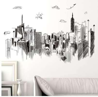 [SHIJUEHEZI] Black Color Tall Buildings Wall Stickers PVC Material DIY Sketch Mural Art for Living Room Office Decoration