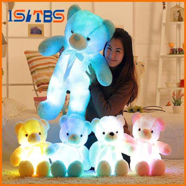 30 см 50 см красочные светящиеся плюшевый мишка светящиеся плюшевые игрушки Каваи загораются LED плюшевый мишка чучело куклы детские рождественские игрушки