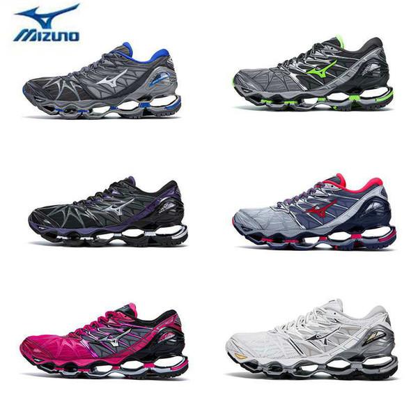 2018 New Mizuno Wave Prophecy 7 Running Shoe Buffer Fashion Mens Womens Originals Top Quality Sports Sneakers Grayish Violet Size 36 45 Shoes Men Mizuno Wave Prophecy 7 2018 Shoes