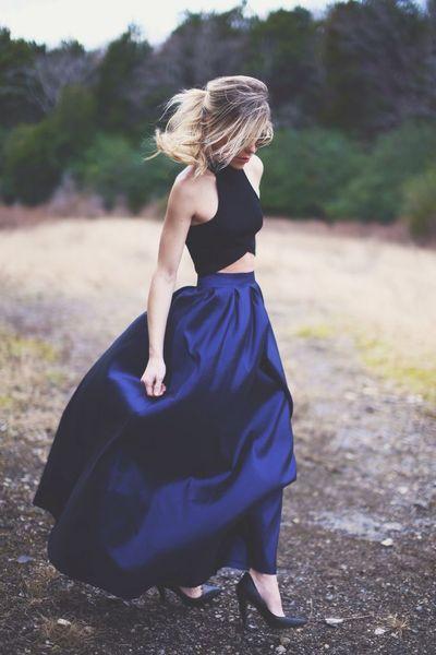 Royal Blue Crop Top Two Piece Prom Dresses 2018 Vestidos para festaLong Evening Gowns Women Summer Dress Party Dressed for festa