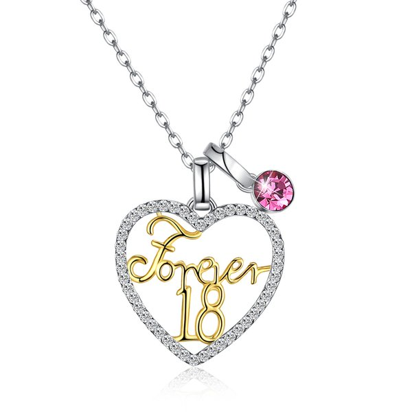 c83c8250e20bb8 forever 18 S925 sterling silver pink heart shaped crystal pendants necklaces  women jewelry anniversary party girl