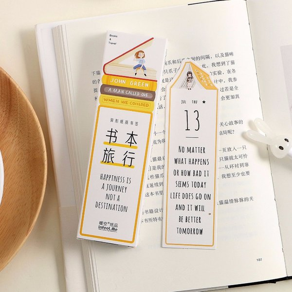 Un voyage avec livre 30pcs marque page ensemble titulaire de la page porte carte de voeux cadeau papeterie fournitures de bureau de l'école marcador de livro A6172