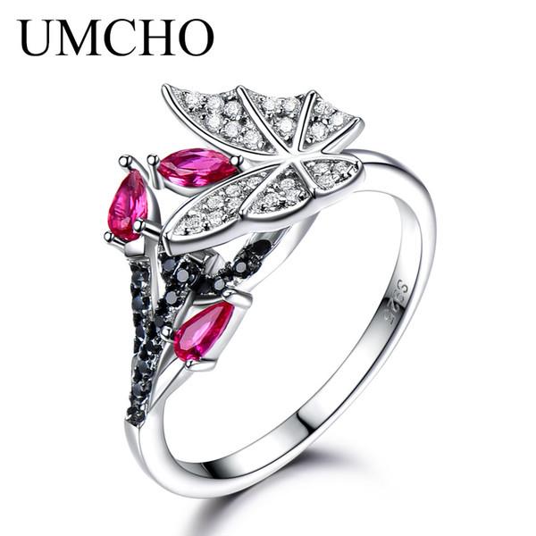 UMCHO Anelli in argento sterling massiccio per le donne Naturale nero Spinello Ruby Gemstone Fashion Unique Butterfly Ring Fine Jewelry