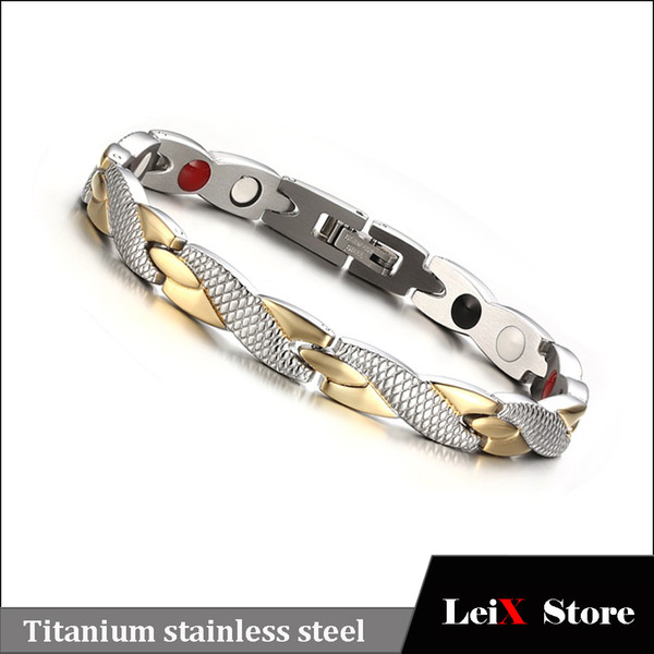 Fashion Jewlery Womens Titanium Stainless Steel Bio Energy Magnetic Therapy Bracelet Pain Relief Health Care Products