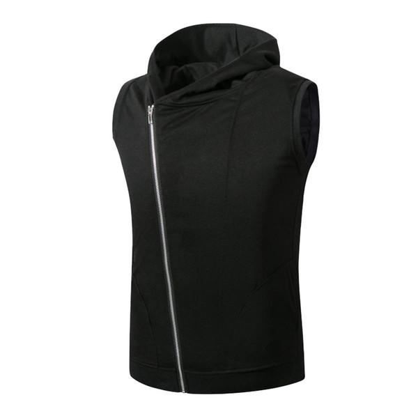 best selling M--5XL Tops New Men's Vest Hooded Sleeveless Sweater Coat J1736MJ10