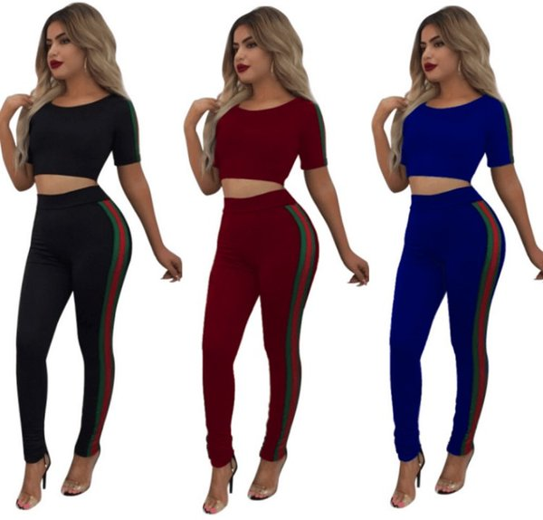 Women Crop Top Two Piece Outfits Tracksuit Striped Track Pants Leggings Tee shirts Sports Suits Trendy Sexy Sportswear Girl Designer Clothes