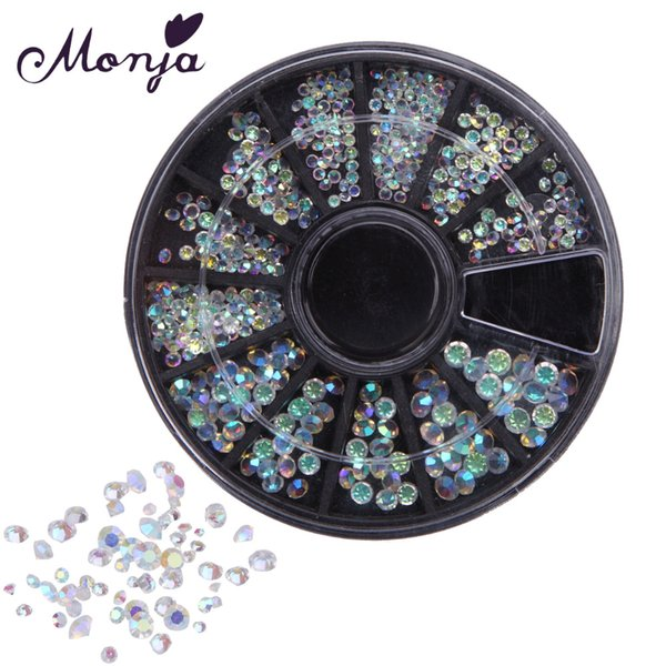jewelry tip Monja 12 Grid Multisize Nail Art Shiny Diamond Gems Style Rhinestone Beads Gel Polish Tips 3D DIY Manicure Jewelry Accessories