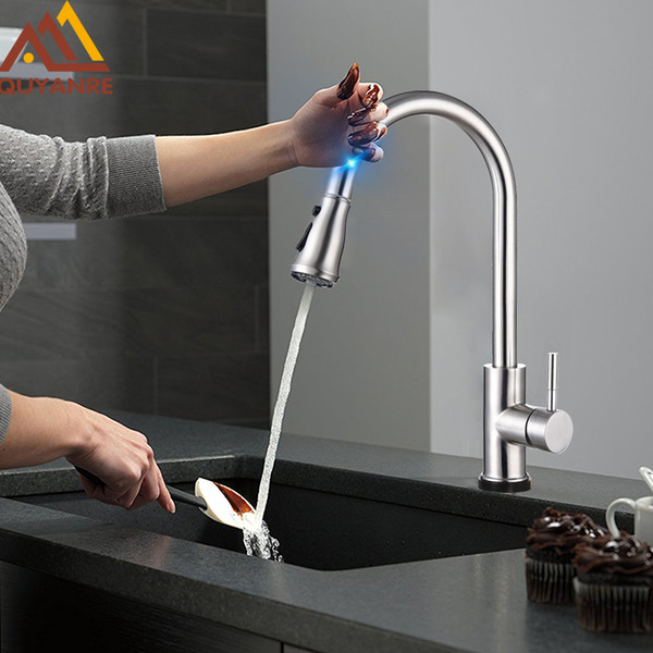 2019 Wholesale High Arc Brushed Nickel Pull Out Touch Sensor Kitchen Faucet Lead Free Pull Out Smart Kitchen Faucet Sensor Tap Faucet From