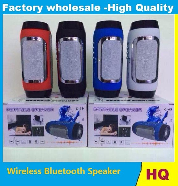 C-65 Wireless Bluetooth Speaker Portable Stereo Pill Pulse Speaker Build in Handsfree Mic FM TF Card Dual Loudspeaker Phone Call