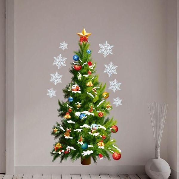 Wall Stickers Bedroom Decoration Christmas Tree Snowflake Window Sticker Adesivo De Parede Muraux Home Decor 5%