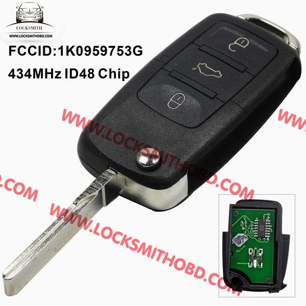 1k0 959 753 г складной флип-ключ Keyless Entry дистанционный передатчик для VW VOLKSWAGEN SEAT 3 кнопка 434MHZ с чипом ID48