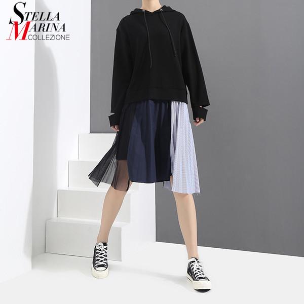 Mujeres primavera negro causal vestido con capucha irregular dobladillo plisado con malla cosida hasta la rodilla mujer vestidos de streetwear 3258