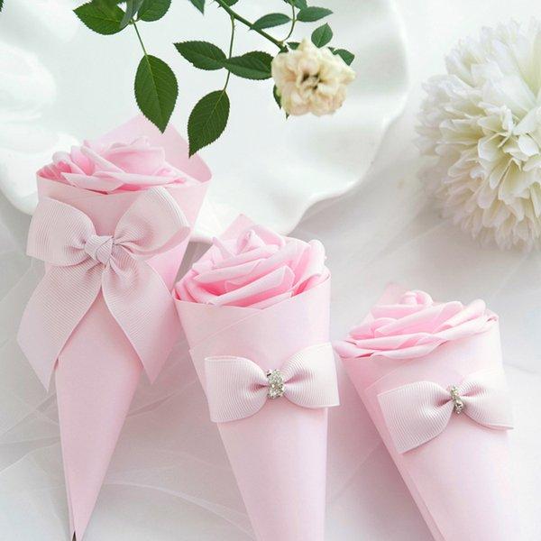 20pcs coni di carta favori di nozze fiocco di fiori scatola di caramelle gelato tabella di nozze decorazione fai da te scatole regalo di festa bomboniera