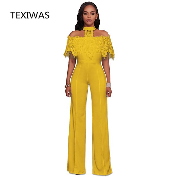 vendita all'ingrosso New Fashion Wide Leg Tuta Halter Tuta Pantaloni Outfits Playsuits Mantella Mantello Mantello Elegante Off spalla Pagliaccetti