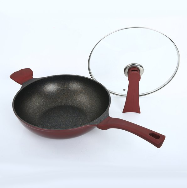 12 inç tava yapışmaz ile kızartma wok kendini standı kapaklı sağlıklı sote tavalar kolay temiz tencere indüksiyon ocak DHL tarafından kullanılabilir