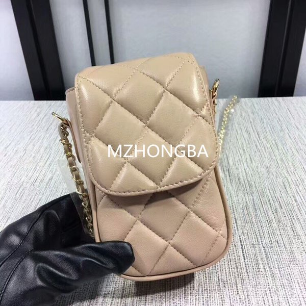 European and American Style MINI Cell Phone Pocket Vogue Cover Criss-Cross Diamond Lattice Lady bag Real Leather 11x18.5x6 cm