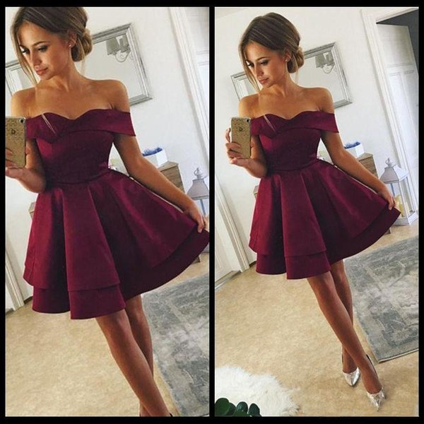 Jane Vini 2018 Burgundy Satin Graduation Dress Mini Homecoming Cocktail Dresses Cheap Off Shoulders Short Sleeves Robe Courte Cocktail