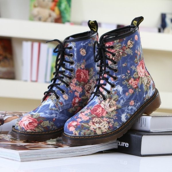retro style canvas women martin boots floral printed cow muscle sole ankle boots lace up platform short boots low heels zx778