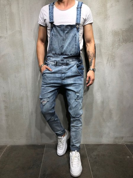 Jeans da uomo Salopette Cinturino alla caviglia Pantaloni di jeans Sottili pantaloni di jeans casuali allentati oversize di moda maschile hiphop skinny