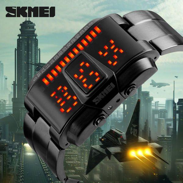 Homens Relógios Desportivos Display LED À Prova D 'Água 50 M Aço Inoxidável Relógio Digital de Natação Mergulho Mão Relógio Relogio masculino