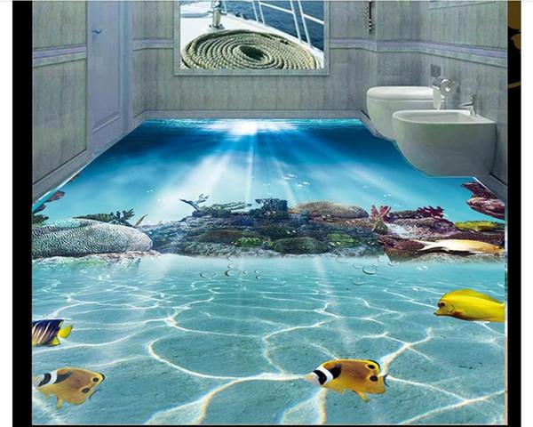 Großhandel Großhandels 3d PVC Bodenbelag Wasserdicht Selbstklebende 3d  Kundenspezifische Wandwandbilder Tapete Unterseeische Weltkorallen Fisch ...