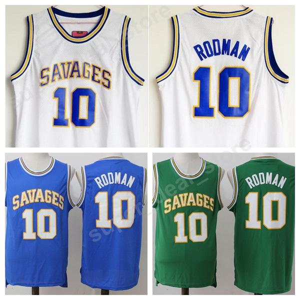 hot sale online ded28 d5ea2 2019 Men High School 10 Dennis Rodman College Jersey Oklahoma Savages  Basketball Rodman Jersey Blue White Green All Stitched Wholesale Cheap From  ...