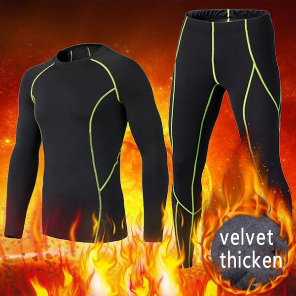 2018 Winter velvet thicken Kids compression base layer running pants shirts sets survetement football Men soccer sports suit