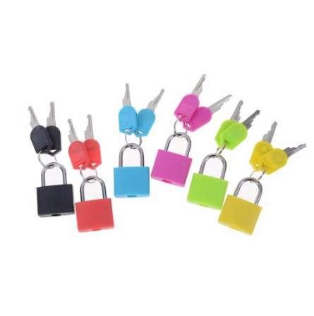 best selling New 6 colors Small Mini Strong Steel Padlock Travel Tiny Suitcase Lock with 2 Keys