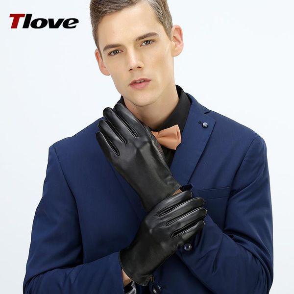 Al por mayor-2017 de calidad superior 100% SheepSkin pantalla táctil de Palm completa para hombre guantes de invierno, estilo clásico del negocio en cuero genuino 6616