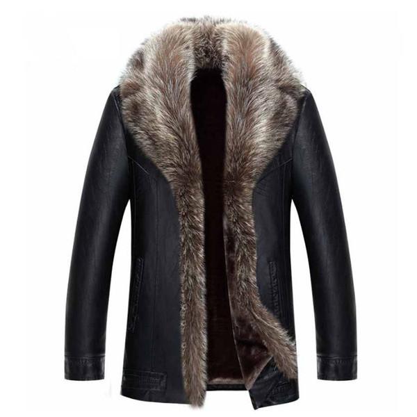 best selling Mens Winter Coat Fur Inside Leather Jacket Real Raccoon Fur Hood Luxury Outwear Overcoat Warm Thickening Tops Plus Size 4XL 5XL 2017 Hot