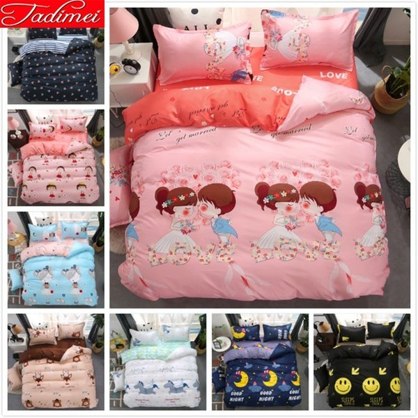 Pink Lover Girl Kids Child Adult Couple Duvet Cover 3/4pcs Bedding Set Soft Bed Linen Single Full Double Queen King Size 180x220
