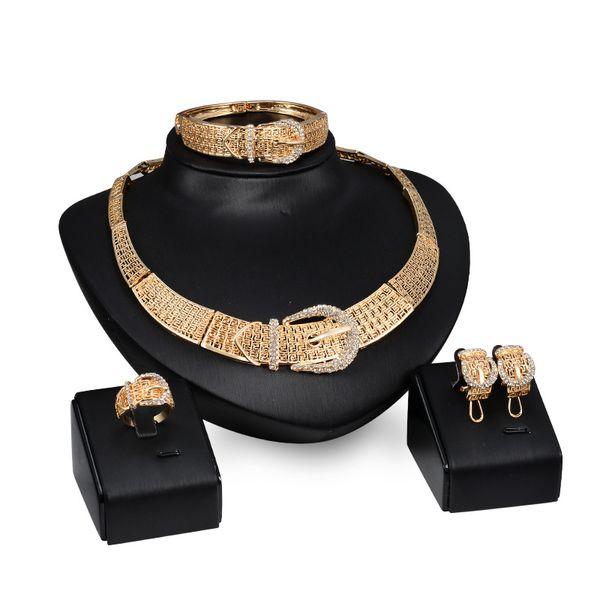 Dubai 18K Gold Pendant Buckle Necklace Sets Fashion African Diamond Wedding Bridal Jewelry Sets (Necklace + Bracelet + Earrings +Ring)