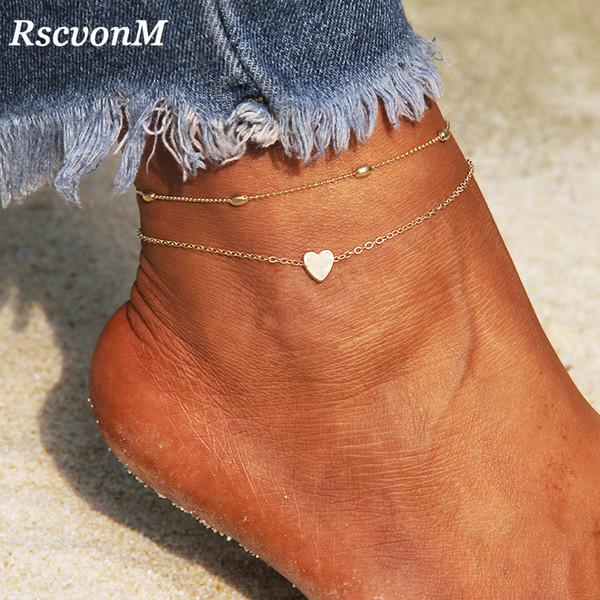 RscvonM Herz Weibliche Fußkettchen Barfuß Crochet Sandalen Fußschmuck Bein Neue Fußkettchen Zu Fuß Knöchel Armbänder Für Frauen Bein Kette