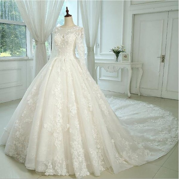 2018 Luxury Champagne Hand Made Flowers A Line Wedding Dresses Long Sleeves Beads Ivory Bridal Gowns Custom Lace Up Bridal Dresses