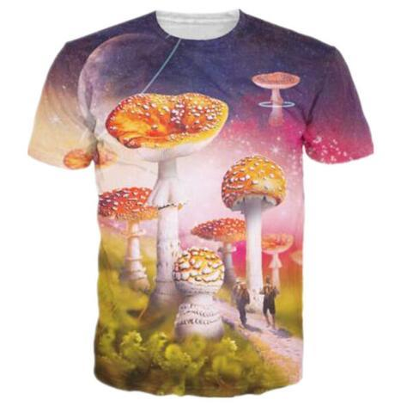 2019 New Fashion Women/Men 3D Print Mushroom Funny T Shirts Summer Short Sleeve Clothing Quick Dry Tee Shirt Steetwear Tops Tees 6XL
