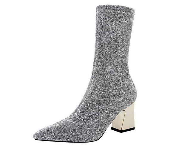 2018 European and American style sexy show thin nightclub short boots thick heel high heel pointed sequins cloth glitter short boots NXX95