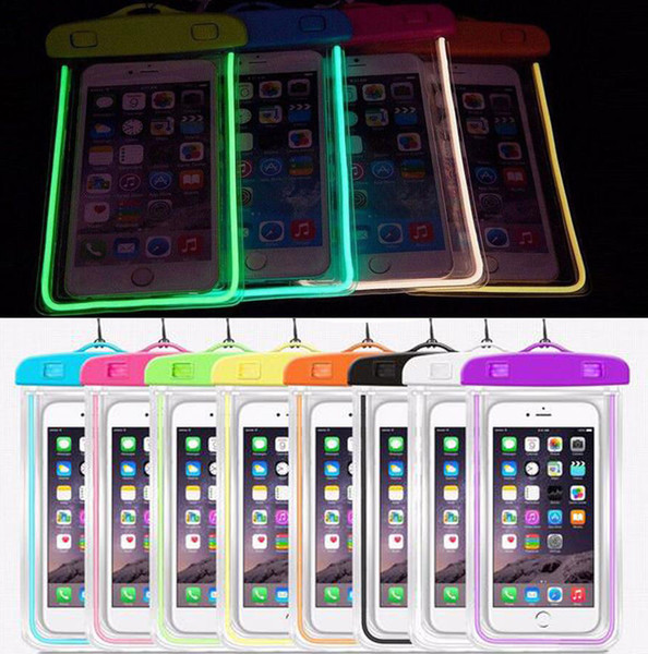 Camouflage Waterproof case Luminous glow in dark lighting Universal Water Proof Bag armband pouch Cover For all iphone 7 8 Cell Phone bag