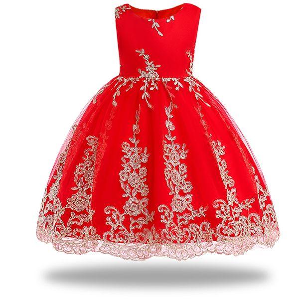 flower girl dress For Wedding Party 2018 Summer Girls Dresses Formal Princess Pageant embroidery girl banquet beauty dress